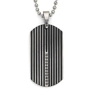 Steel Vertical Black Diamonds 0.15 CTW Dog Tag Pendant Free 24 Chain