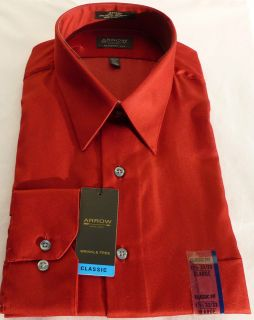 New Men Arrow Sateen Poppy True Red Solid Color Dress Shirt   Classic