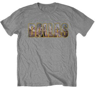 Dallas Cityscape Vintage Style TV Show Adult T Shirt Tee
