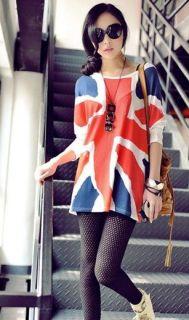 New Lady girls fashion Long sleeve English UK British Flag style loose