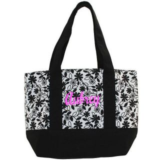 Personalized Black & White Fully Lined Floral Canvas Tote Bag Free