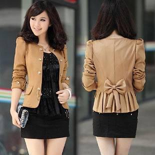 New Fashion Korean Women 3 colors Slim bow knot Suit Jacket 116