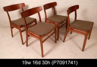 Set Of Four Vintage Danish Modern Hans Wegner Teak Chairs (P7091741)n