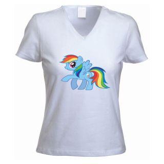 My Little Pony Rainbow Dash Ladies V Neck White T shirt