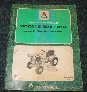 Allis Chalmers 608 610 Lawn Garden Tractor Operators Manual