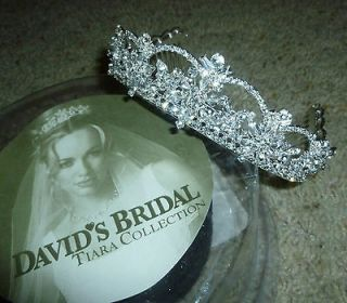 Davids Bridal silver 3D rhinestone crystal tiara wedding crown bride