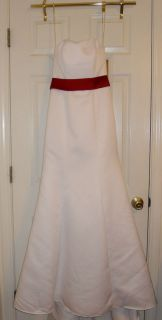NWT Davids Bridal Wedding Dress/Gown Strapless Satin w/Apple Red Sash