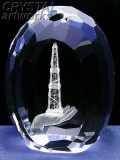 OIL DERRICK on HAND 3D Laser Etched Crystal Egg L1005e