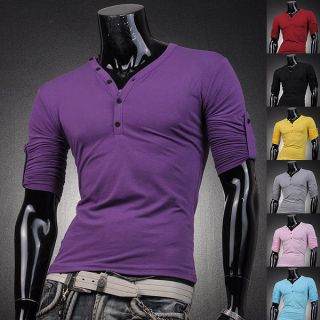 Designer Mens T Shirts Top Tee V Neck Muscle Slim Fit Lycra Long S M L