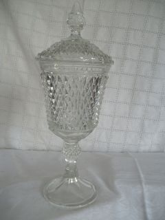 Indiana glass diamond point urn w/lid clear