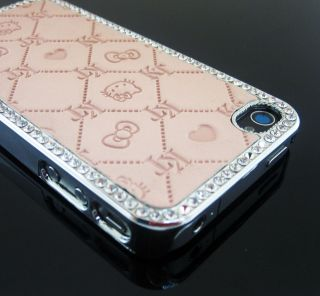 KC8 Bling Shiny Rhinestone Hello Kitty Imprinting Leather Case for