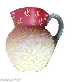 Newly listed Mount Washington coralene pitcher with yellow beaded