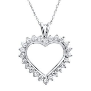 1ct tw Diamond Heart Pendant Necklace in 10K White Gold