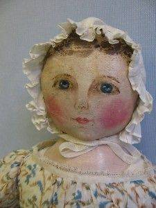 19 ½ Emma E. Adams c1891 Cloth COLUMBIAN DOLL Original Paint