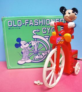 RED MICKEY MOUSE OLD FASHIONED BIKE DISNEY MASUDAYA WIND UP TRICYCLE