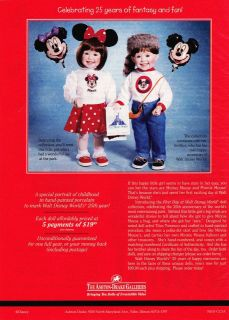 DRAKE First Day at Walt Disney World 2 Dolls PRINT ADVERTISEMENT