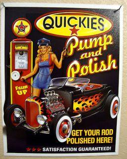 QUICKIES PUMP & POLISH 1950s Antique Vintage Look Hot Rod Gas Pump