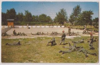 Fort Dix New Jersey Postcard Training Court US Army Soldiers w/ 1958