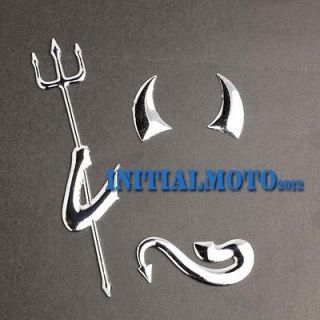 Car Truck SUV 3D Devil Chrome Silvery Steel Logo Emblem Decal Sticker