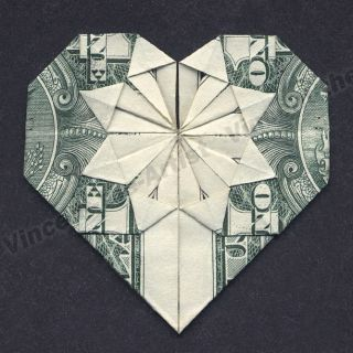 Dollar Bill Origami HEARTS   Many Designs   Great Gift Idea Made of