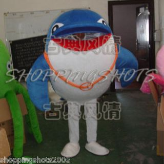 Dolphin whale Cartoon Mascot Costume Fancy Dress R00398 adult one size