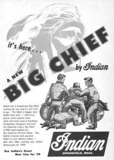 1959 Indian Chief Motorcycle Its Here Original Ad