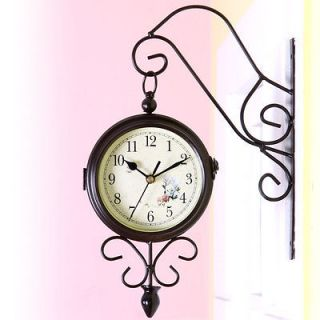 Romantic Classic Double Sided Clock Walnut Wall Clock Home Interior