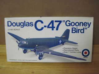 Vintage Entex Douglas C 47 Gooney Bird 1100 Scale Model Airplane Kit