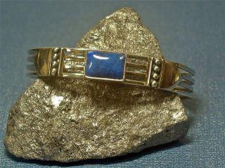 Navajo Kathy Yazzie Sterling Silver Lapis Cuff Bracelet Native