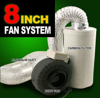 Hydroponics 8 Inline Duct Tube Exhaust Fan Carbon Filter Kit 745CFM