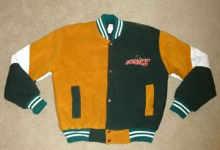 VTG SEATTLE SUPERSONICS Basketball Jacket NBA Embroidered SOFT Mens