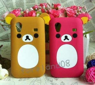 2pc Brown+Rose 3D Cute Ear *Bear* Soft SAMSUNG Galaxy Ace S5830 Cases