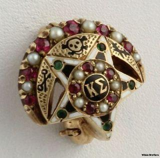 Kappa Sigma Genuine Ruby Seed Pearl Emerald Badge   10k Yellow Gold