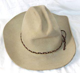 VINTAGE JOHN B STETSON 5X BEAVER TAN COWBOY WESTERN HAT