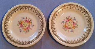 Edwin M. Knowles China Plate Set 6 1/2 Semi Vitreous gold trim
