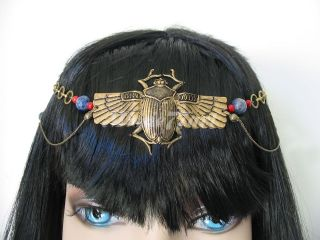 Art Deco Egyptian Scarab Beetle Circlet Headpiece with Genuine Lapis