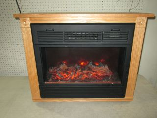 Amish Made Heat Surge Electric Fireplace Light Oak Mantle