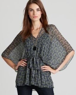 Ella Moss NEW Multi Color Silk V Neck Drawstring Waist Gypsy Blouse