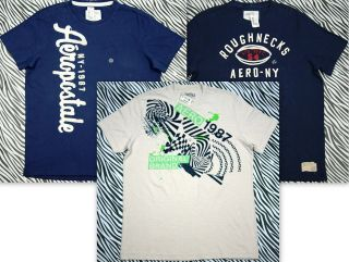 Aeropostale Mens Applique Embellished Tee & Graphic T Shirt 3pc Set