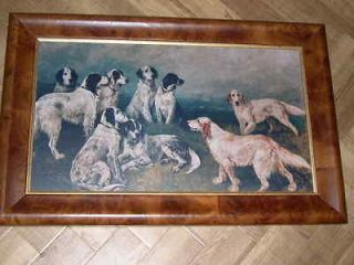 VERY LARGE ANTIQUE ENGLISH SETTER JOHN EMMS DOG OIL PAINTING IN SUPER