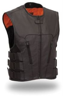 Leather SWAT Team Style Biker Motorcycle Biker Vest Lifetime Warranty