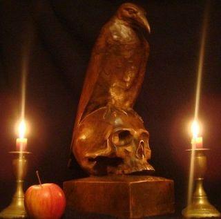 Antique wood carving sculpture devil Satan skull Poe Memento Mori