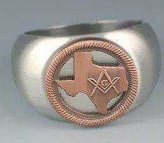 MASONIC STATE OF TEXAS STAINLESS STEEL ANTIQUE COPPER SILVER RING