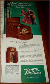 1948 ZENITH Table RADIO PHONOGRAPH Vintgage Print AD