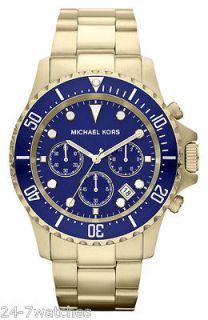 NEW Michael Kors MK8267 Everest Yellow Gold Tone Navy Blue