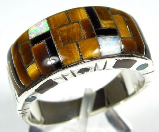 Southwestern Tiger Eye & Opal Inlay 925 Sterling Silver Mens Ring all