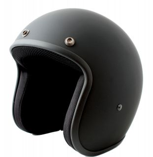 Low Profile Matt Black Bobber Chopper open face jet biker helmet