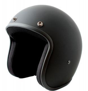 Low Profile Matt Black Bobber Chopper open face jet biker helmet