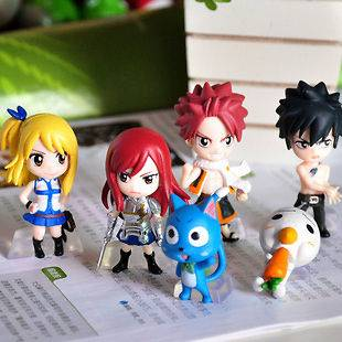 NEW SET OF 6PCS Fairy Tail Natsu / Happy / Lucy / Gray / Elza MINI