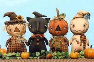 fall doll pattern kitty cat pumpkin man scarecrow ghost new fall